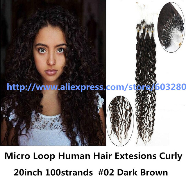 Malaysian Curly Hair Micro Loop Human Hair Extesions 20inch