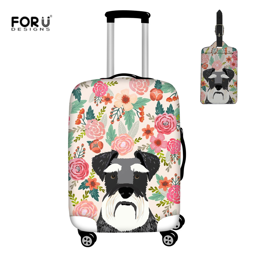 FORUDESIGNS Travel Luggage Protective Covers Schnauzer Floral Dog Print Suitcase Cover 2pcs/set Elastic Luggage Case Dustproof