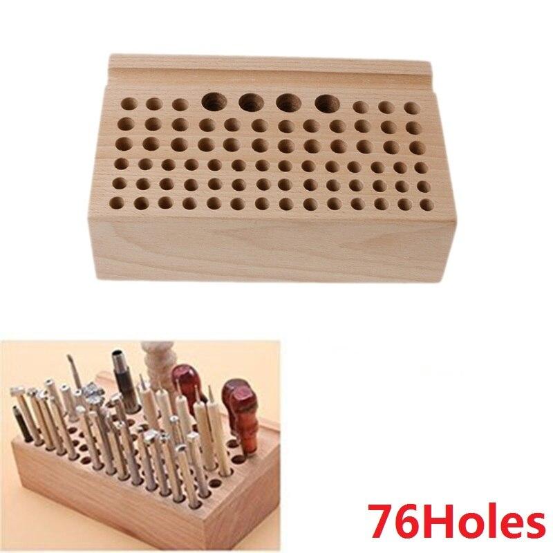 1 pièces 76-24trous artisanat bois outil timbre support hêtre Rack porte-cartes en cuir bricolage artisanat fournitures 100% tout nouveau qualité maroquinerie