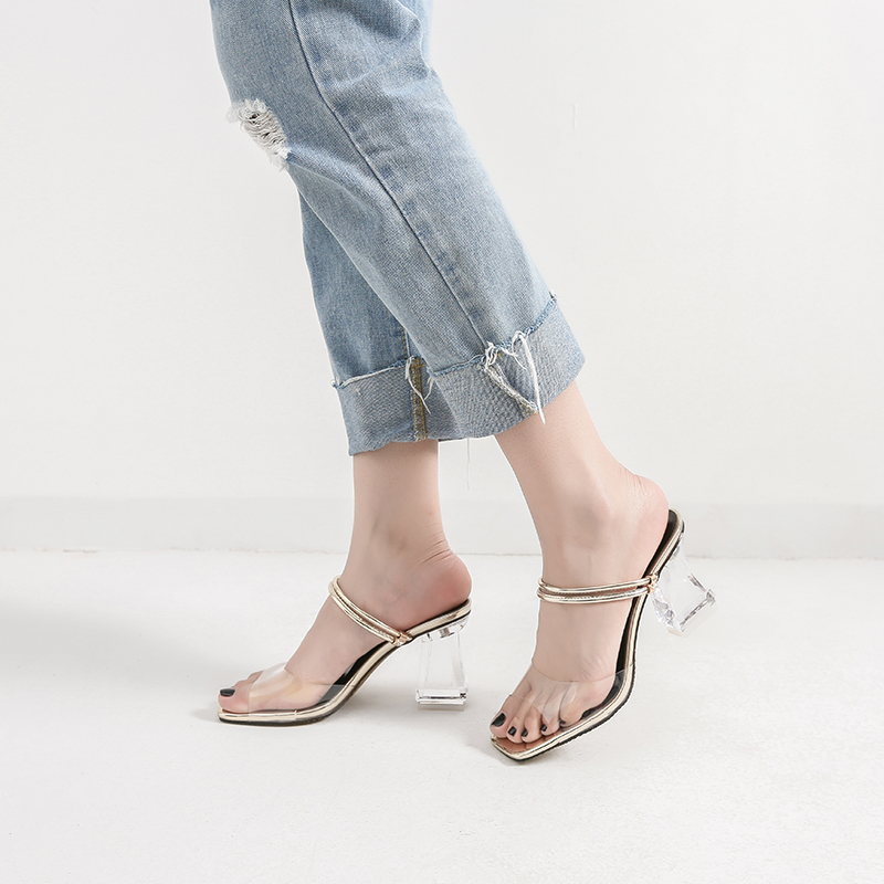 Zapatos Las Tacones Alto Diapositivas Partido Claro Mujeres Verano Bloque Zapatillas Sandalias Sliver De gold Transparente Sexy Del 2018 Cristal 7SHzS8