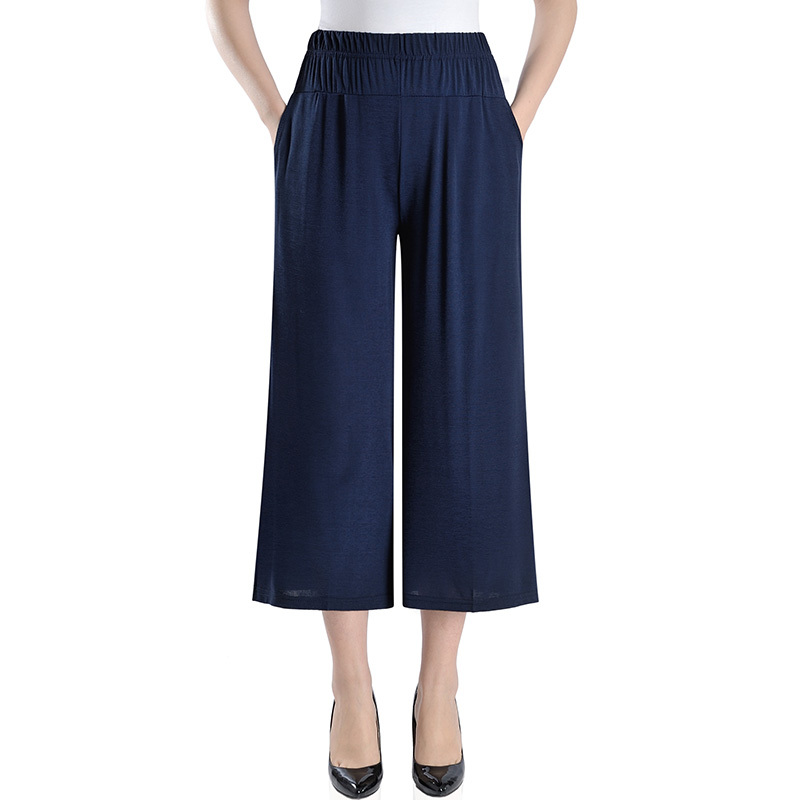 Middle Aged Women Casual Wide Leg Pants Elastic Waist 2019 Summer New Pockets Plus Size Women Clothing Loose Vintage Trousers