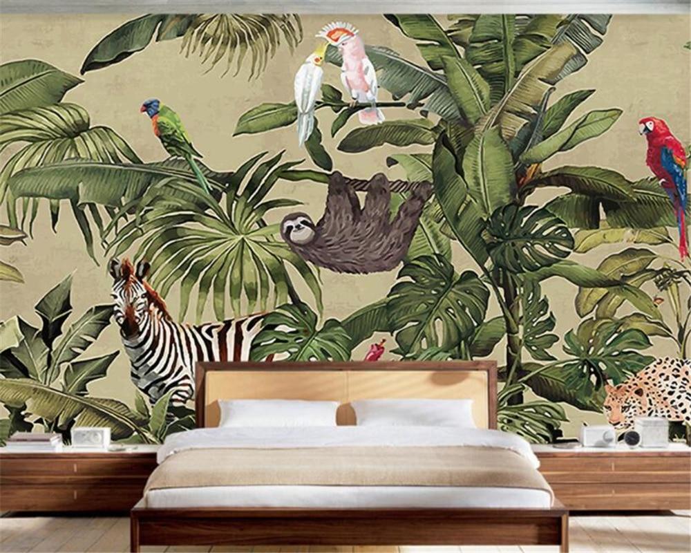 Купить с кэшбэком Beibehang Photo wall mural wallpaper Retro tropical rainforest animal palm leaf living room TV wall wallpaper papel de parede