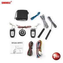 Sinovcle Автомобильная сигнализация с дистанционным управлением, система запуска двигателя без ключа, кнопка дистанционного стартера