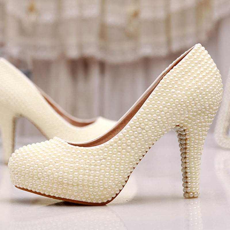 Wedding Shoes Ivory Bride Woman Spring Summer Party Prom High Heels 3 Inches Heel Platform Formal Dress In Women S Pumps From On
