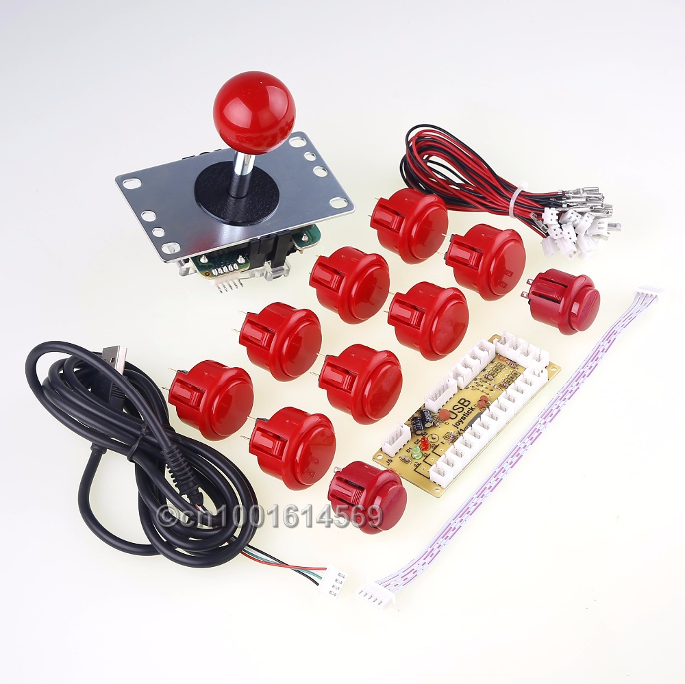 Arcade Games DIY Kit Parts PC USB Encoder Board & Sanwa Stick Cable & 30mm Sanwa Buttons Wires For MAME Multicade & Video Games sanwa button and joystick use in video game console with multi games 520 in 1