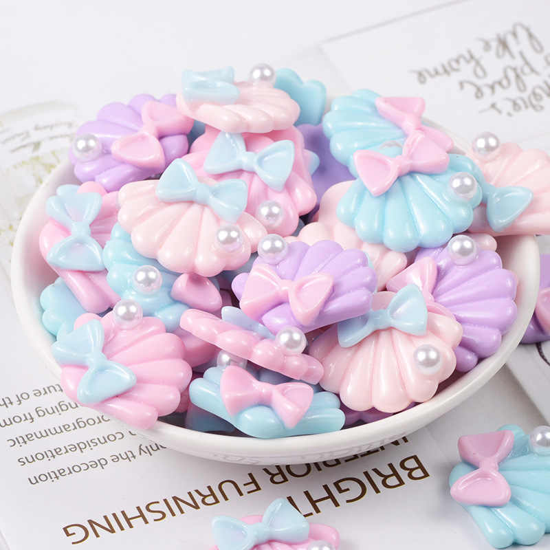 10 Pieces Kawaii Resin Pearl shell Flatback Cabochon Scrapbooking Fit Phone Hair Bow Embellishments Diy Accessories