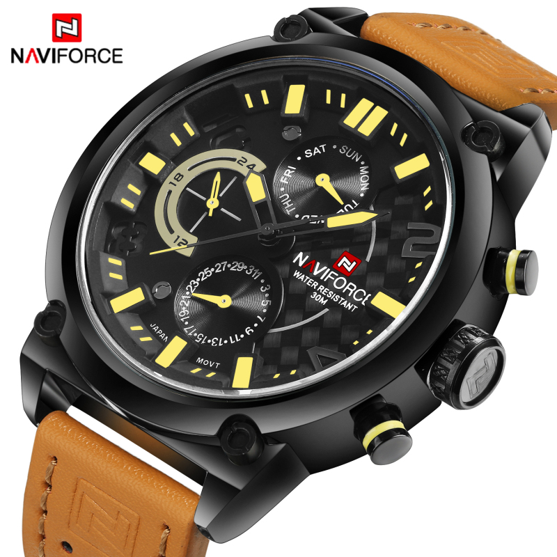 NAVIFORCE Men Watches Top Luxury Brand Men's Leather 24 Hour Quartz Date Clock Man Sports Army Military Waterproof Wrist watch black v neck lace up design cami top
