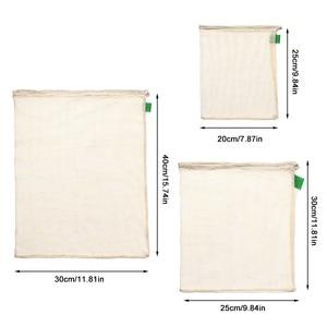 Image 2 - 9pcs/set Premium Organic Cotton Mesh Produce Bags Reusable Washable Storage Drawstring Bag for Shopping, Grocery,Fruit Vegetable