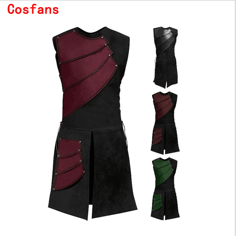 COSFANS 2019 Halloween Medieval Renaissance Tunic Viking Saxon Aristocrat Chevalier Knight Cosplay Costume For Adult Women men