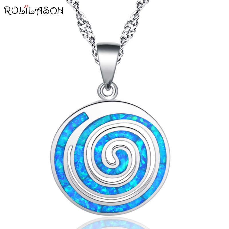 ROLILASON blue thread shape 925silver stamped opal necklace pendant fashion anniversary gift female models OP859