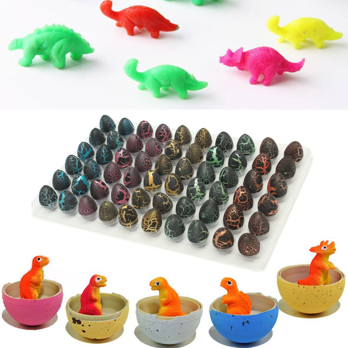 60pcs/set Magic Add Water Dinosaur Eggs Hatching Dino Growing Cute Children Toy Gift Children Kid Funny Toys Gift Gadget