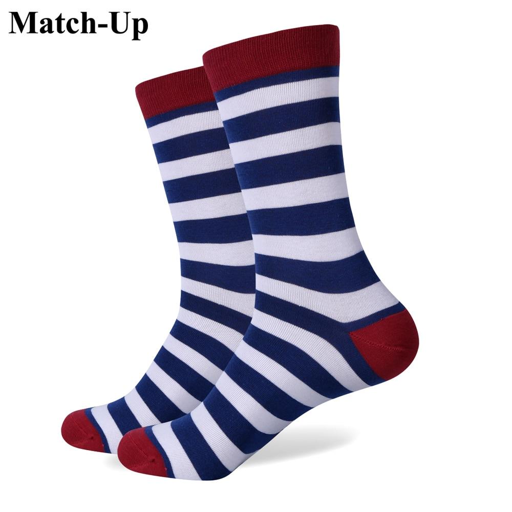 Match-Up New Style Men's Combed Colorful Socks Brand Man Socks , Navy Stripe Cotton Sock S