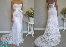 Free Shipping Wonderful Wholesale Fishtail Sweetheart Neckline Strapless Sweep Train White Wedding Dresses Lace With Sash MF406