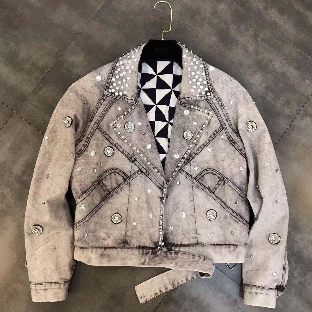 Veste en Denim Casaco offre spéciale coton Bomber veste Jaqueta Feminina printemps nouveau revers à manches longues perlé diamant décoratif femme