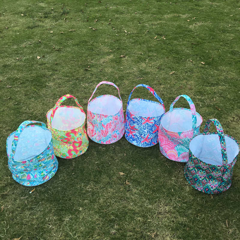 cd9359035d03aa Crowne Easter Bucket , Coral Print Easter Tote, Wholesale Lilly Easter Bag  , Foldable Easter