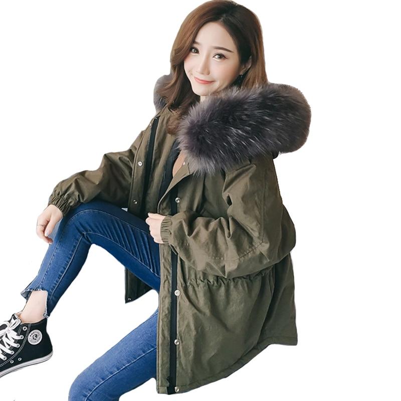 2019 New arrival fashion Korea style women winter jacket short loose big fur with hood womens coat solid overcoat female parka