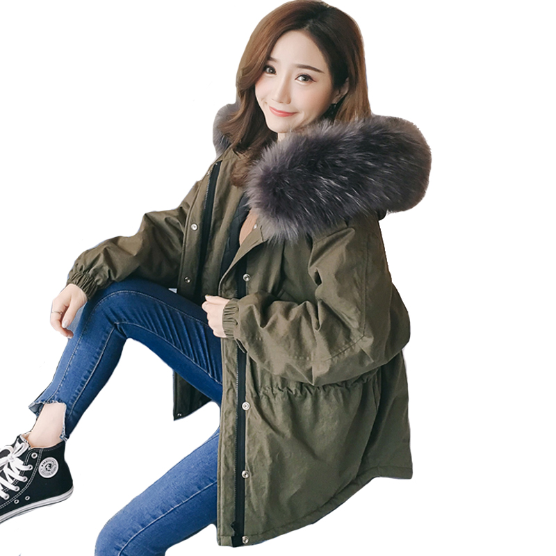 2019 New arrival fashion Korea style women winter jacket short loose big fur with hood womens coat solid overcoat female parka