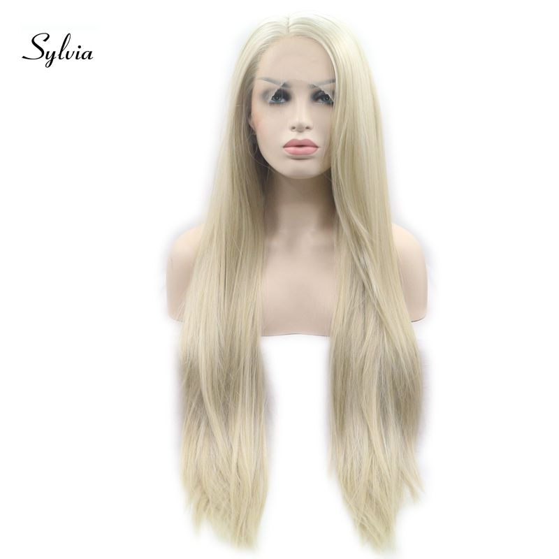 Sylvia Blonde Synthetic Lace Front Wigs Long Silky Straight Wig heat Resistant Fiber Long Hair For Women