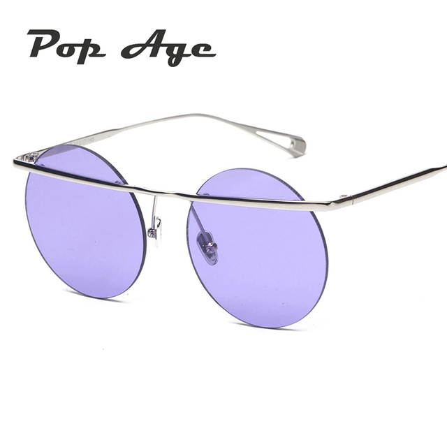 c1f8104173 Pop Age New Rimless Round sunglasses Summer Ocean Yellow Pink Blue Sunglasses  Women Vintage Metal Sun Glasses Female Eyeglasses
