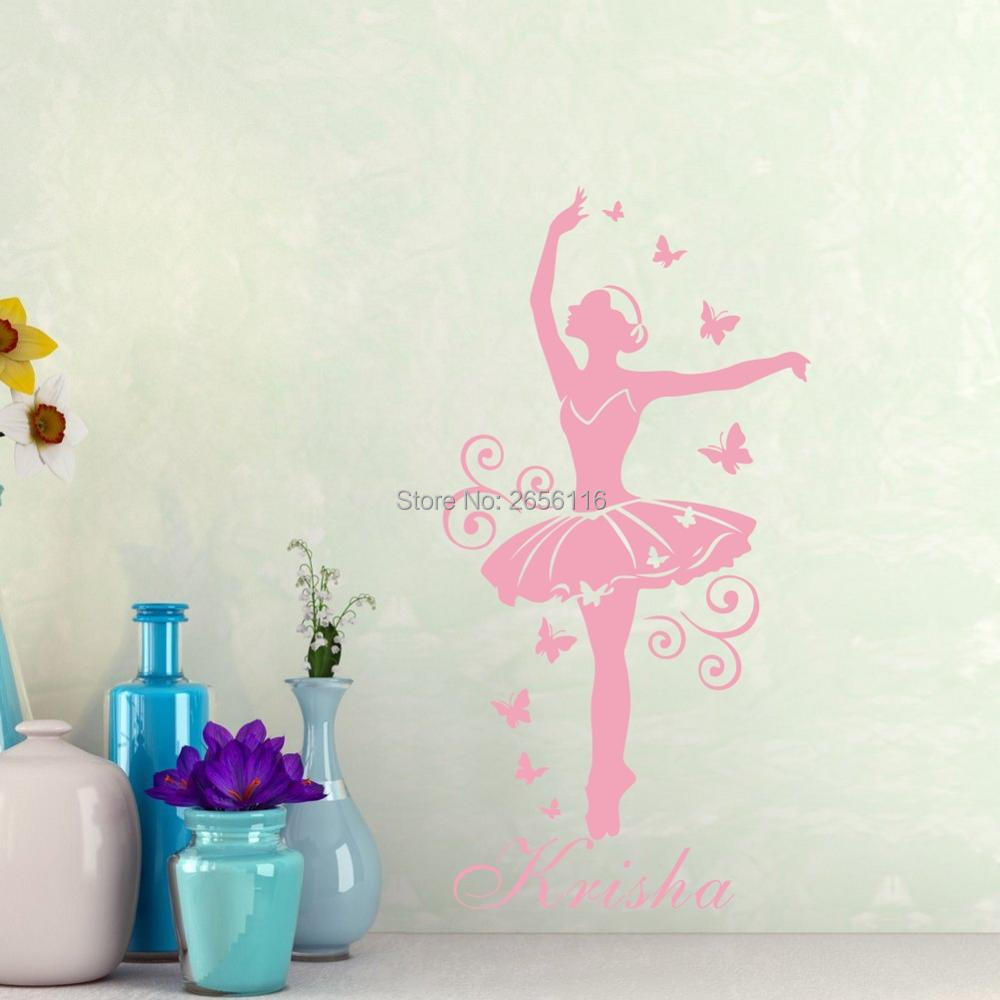 Personalized girls name wall sticker ballerina art vinyl poster difference between carving wall stickers and printing wall stickers amipublicfo Gallery