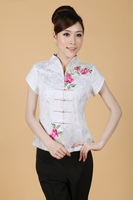 Shanghai Storynew arrival chinese style Top Blouses traditional Chinese Women's cotton cheongsam Top white color chinese Blouses