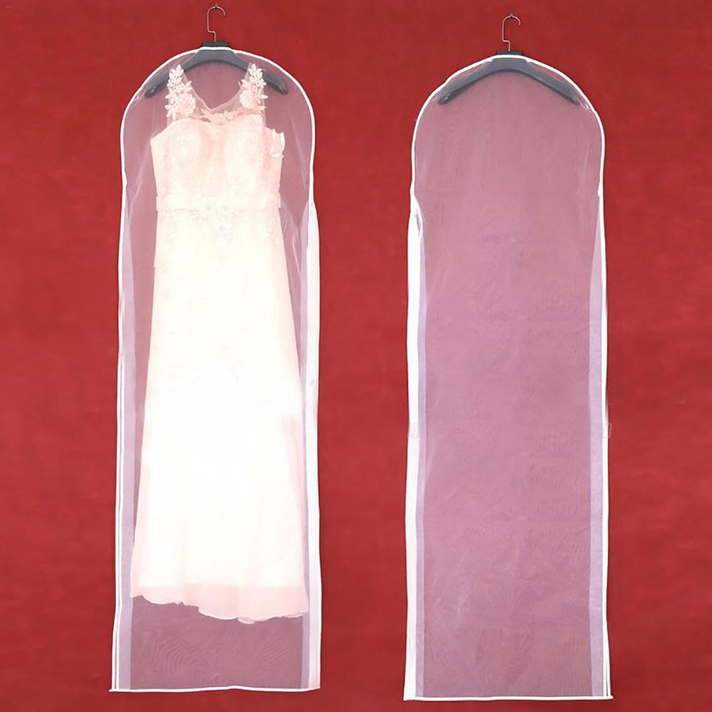 Dubbelzijdige Transparante Tule Kristal Garen Bruiloft Bruids Jurk Stofkap Met Rits Voor Thuis Garderobe Gown Opbergtas Catalogi Worden Op Verzoek Verzonden