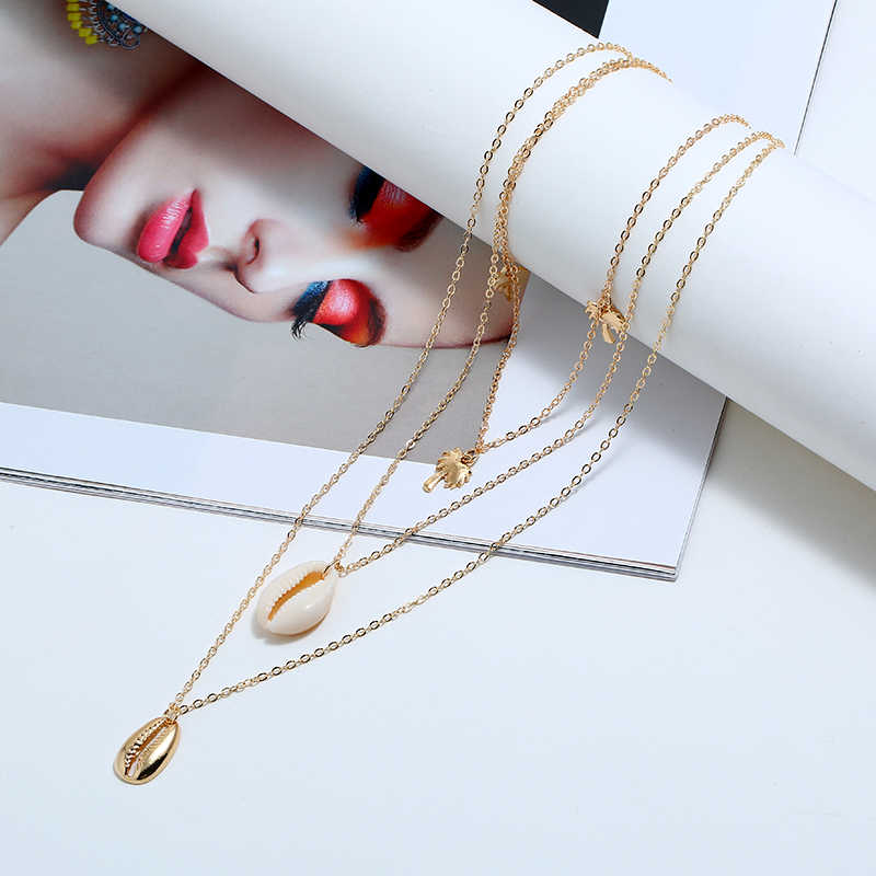 2019 fashion style long necklace for women quality gold silver pendant necklaces Zinc Alloy lady cute shell women's Nacklace hot