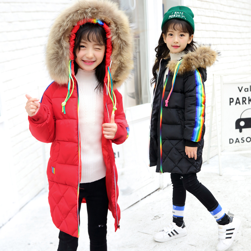 Winter Coat Girl Real Fur Collar Hooded Kids Overcoat Children Outerwear Winter Jackets Coats For Girls Thick Long Parka 5-13 Y winter fashion kids girls raccoon fur coat baby fur coats