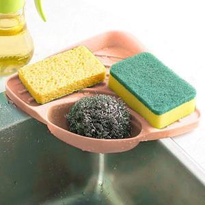 Image 2 - חם 1 PC אמבטיה מטבח כיור פינת אחסון מדף ארגונית ספונג רב תכליתי מדף קיר מטבח מדף צלחת ניקוז חומרה