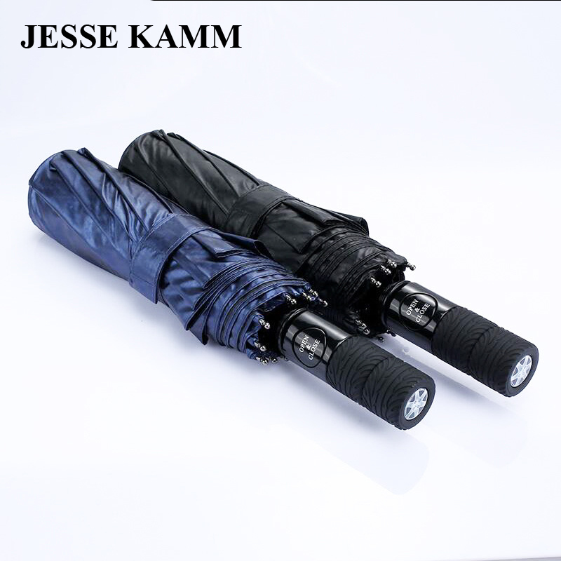 JESSE KAMM Wheel automatic high-grade sunny umbrella 10 bones sunscreen  wind defense business men oversized umbrella 4902d8e51eb