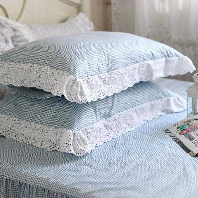 2 pz classic blu plaid Ricamato federa accessori camera da letto ...