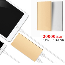 FOOBI Ultra-thin Mobile Power Bank 20000 mAh metal shell led light USB External Backup Battery Portable universal Phone charger