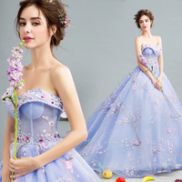 2015 plus size 13 15 16 birthday cheap sweet short ball gown quinceanera dresses blue train tail sweetheart flowers sexy 068