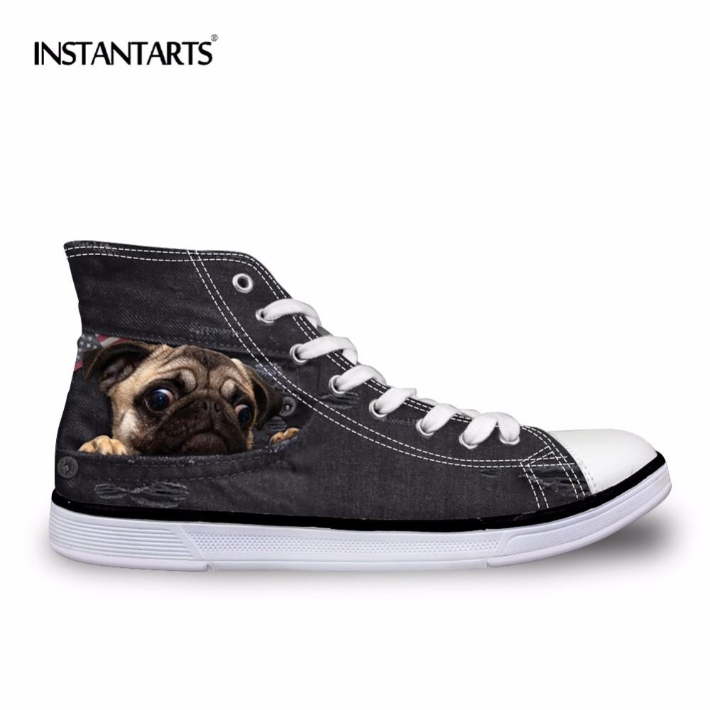 все цены на INSTANTARTS Black Denim Men' s Vulcanize High Top Shoes Youth Boys Cute Animal Cat Dog Design Classic Spring Autumn Canvas Shoes
