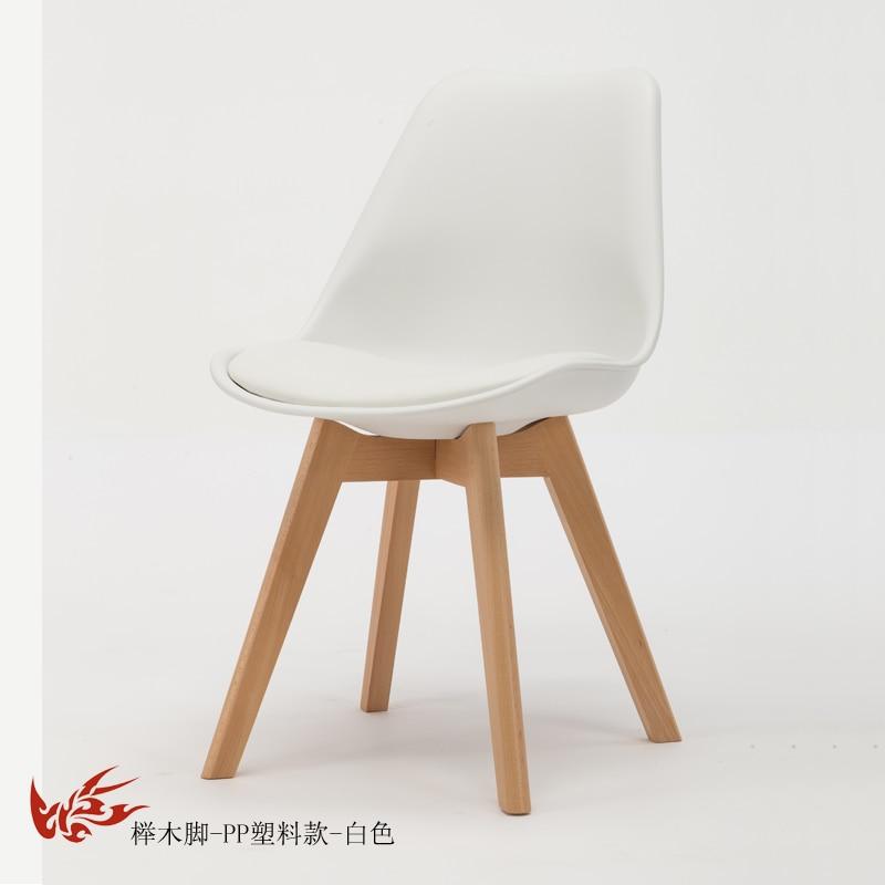 Простой стул Мода нордическая ткань; Массивная древесина обеденный стул кофе отель встречи, чтобы обсудить домашний табурет - Цвет: 1