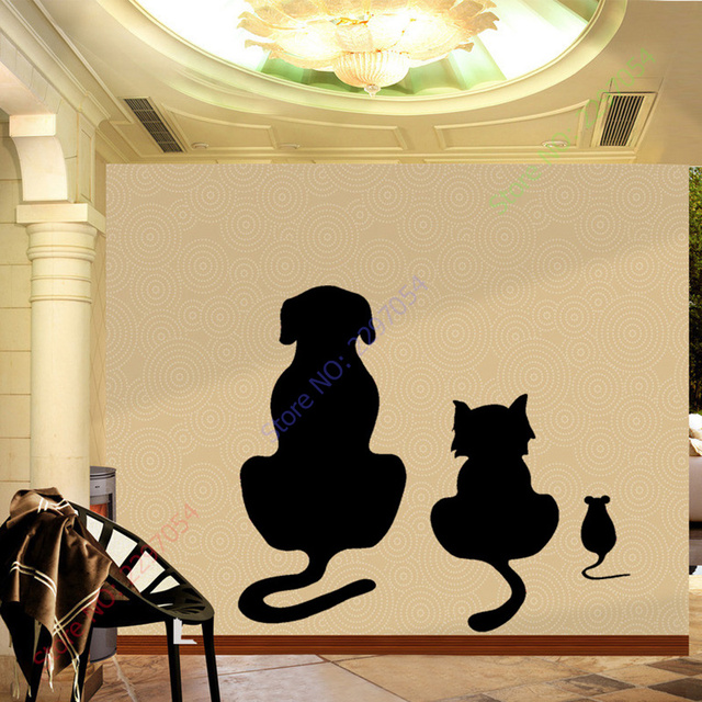Dogs, Cats And A Mouse Wall Art Sticker Animal Vinyl Mural Cartoon ...