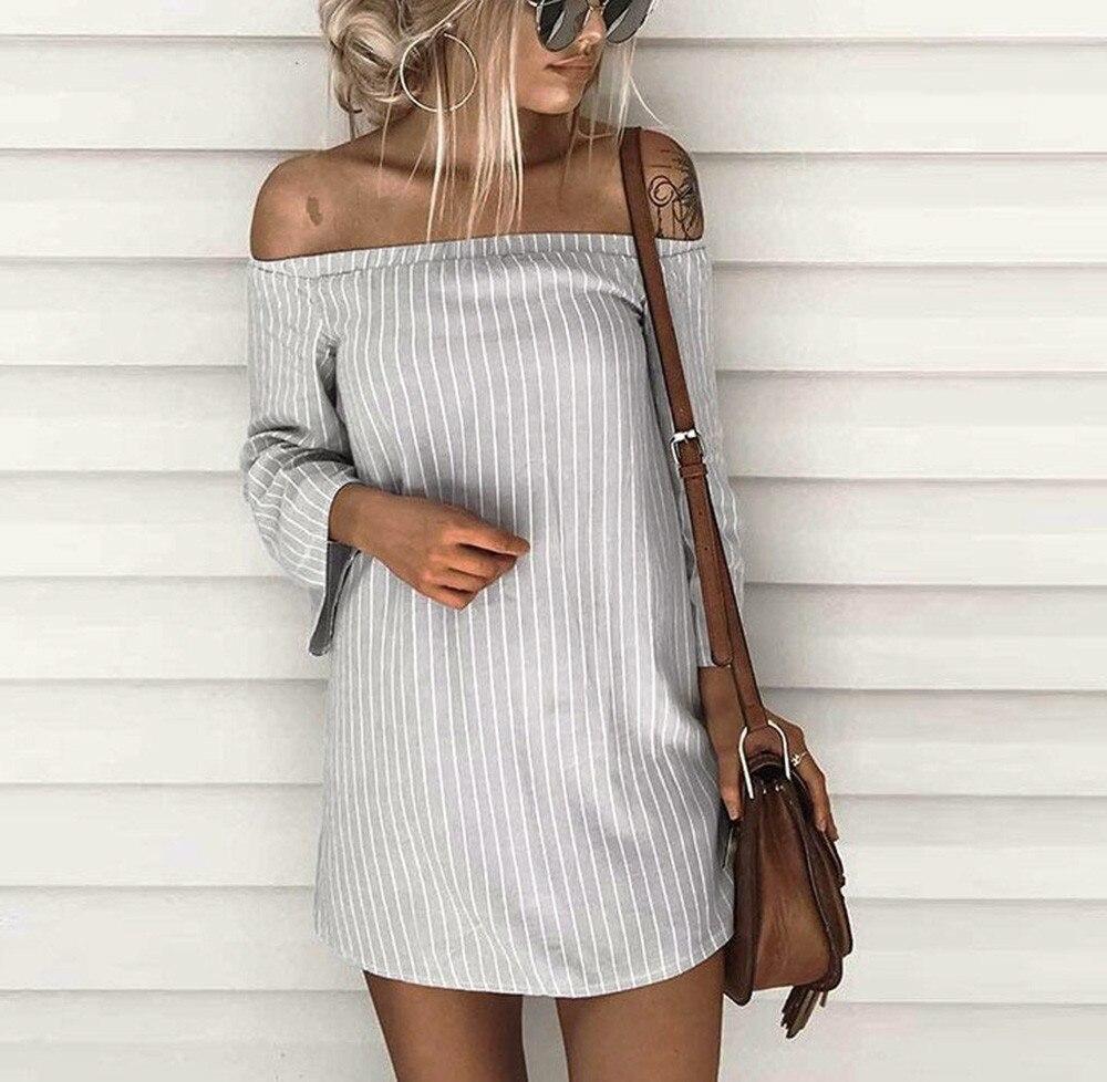 NEW Women Striped Shirt Dress Ladies Off Shoulder Long Sleeve Bandage Summer Dresses Womens Casual Mini Party Beach Dress #YL5 przekładana sukienka w paski yasmina
