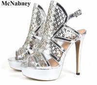Mcnabney 섹시한 여성 샌들 높은 플랫폼 스틸 레토 힐 버클 발목 스트랩 들여다 발가락 여름 샌들 패션 새로운 골드 여성 신발