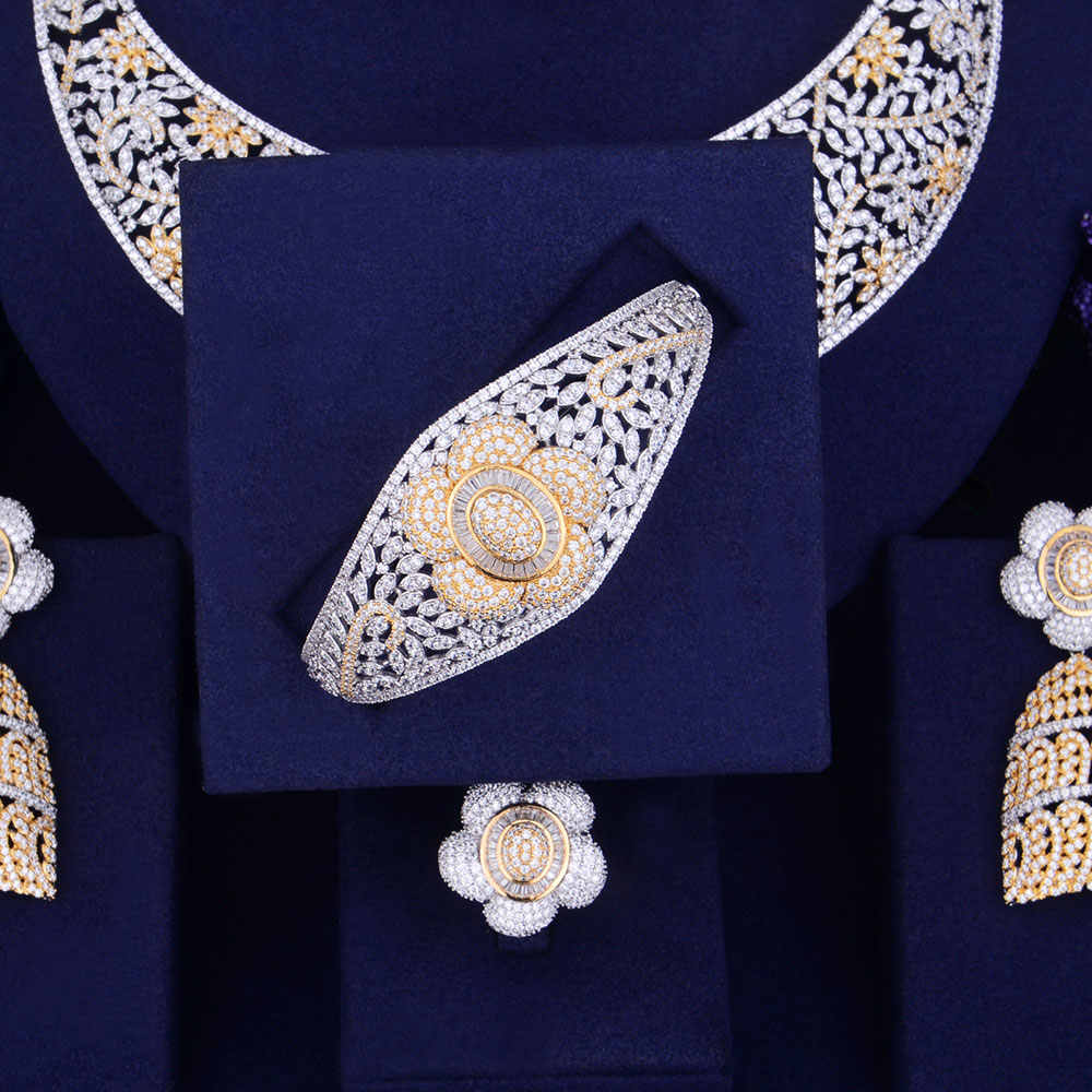 GODKI Luxury Flower Women Nigerian Wedding Naija Bride Cubic Zirconia Necklace Dubai 4PCS Jewelry Set Jewellery Addiction