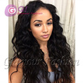 GQ 100% black human hair wigs silk top full lace wigs silk top lace front wig with bleached knots baby hair around 1b# silkbase