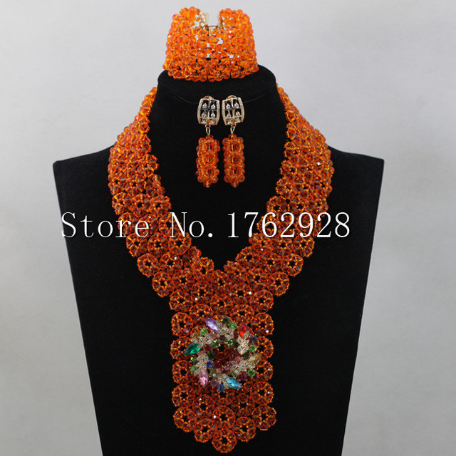 Charms Orange Necklace Set for Bride Crystal Seed Beaded Arab Wedding Party Jewelry Set Free shipping C0001160