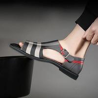 Plaid Sandals Men Shoes 2019 Summer Holiday Shoes Fashion Brand Men Casual Summer Footwear Open toe Male Sandals KA1497