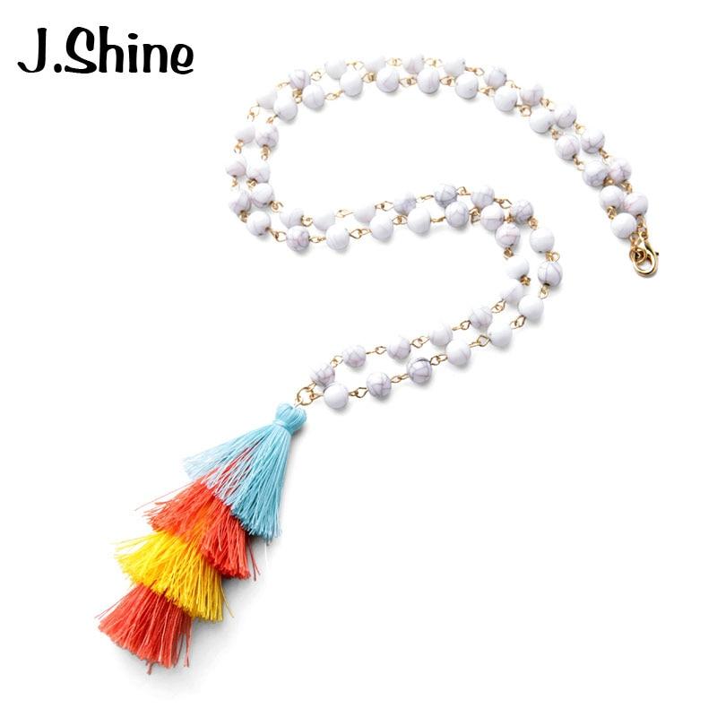 JShine Trendy Jewelry Store JShine White  Green Beads Chain Long Necklace Bohemia Layered Tassel Necklaces  Pendants Women Fashion Christmas Jewelry