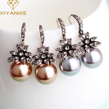New Fashion Luxury Vintage Sun Flower Pearl Drop Earrings For Women Fine Jewelry Accessory Brincos High Quality XY-E144