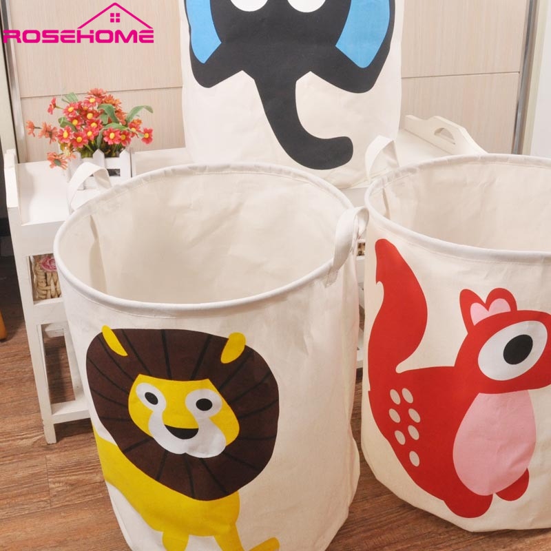 ROSEHOME 40*50cm Zakka Style Cartoon Canvas Cotton Linen Fabric Clothing Barrels Laundry Storage Basket/Bags for Toys/Book/towel