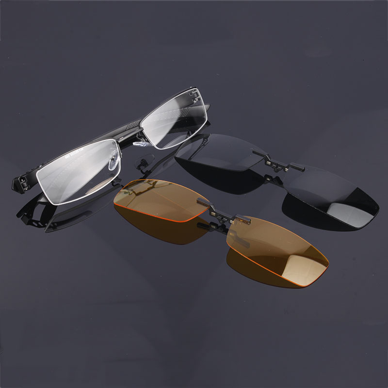 2 Pcs Polarized Clip On Magic Clip On Eyeglasses Frame/ Half Rim Eye Glasses/ Night Day Driving/ Polarized Sunglasses #680