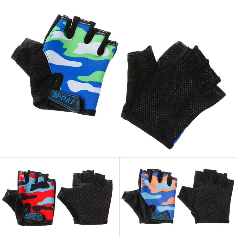 Cycling Gloves Half Finger Breathable Elastic Riding Non Slip Kids Outdoor Sport
