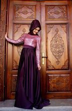 A-line With Hijab Purple Color High Collar Long Sleeve Pink Color Casual Embroidery Long Sleeve Muslim Evening Banquet Dress