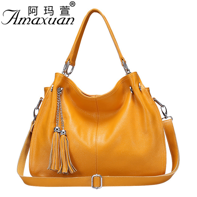 2017 Genuine leather women handbags fashion solid color single shoulder bag casual crossbody tassel bag trend messenger bag NB06