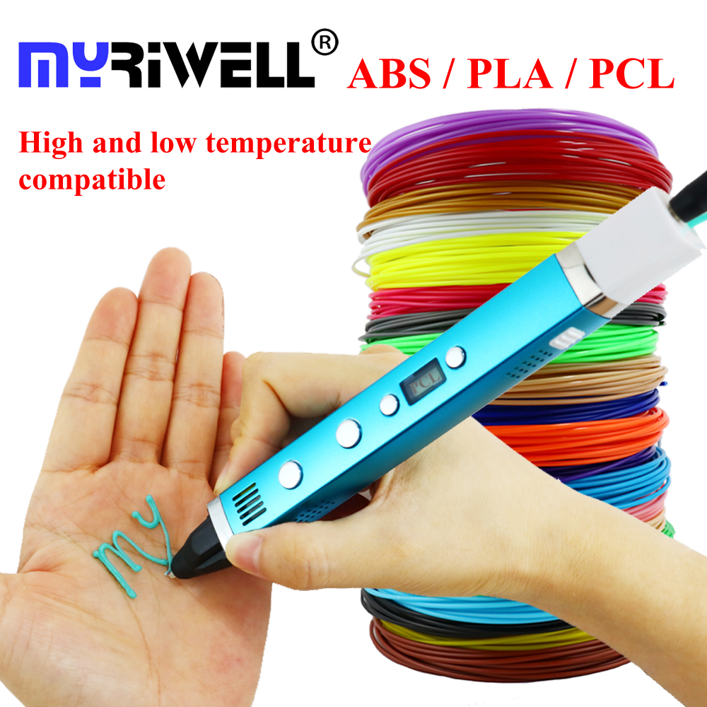 Myriwell 1.75mm ABS/PLA/PCL DIY 3D Pen LCD Screen USB Charging 3D Printer Pen 1.75mm Filament Creative Toy Gift For Kids Design 1 75mm abs pla diy 3d printing pen led lcd screen 3d pen painting pen filament adapter creative toy gift for kids design drawing